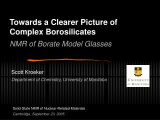 Towards a Clearer Picture of Complex Borosilicates NMR of Borate Model Glasses