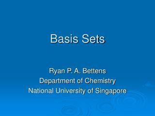 Basis Sets