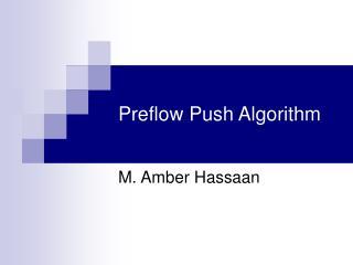 Preflow Push Algorithm