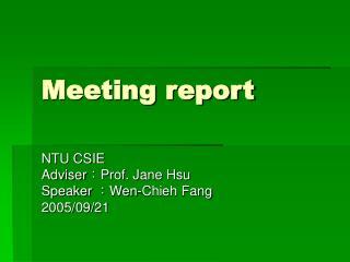 Meeting report