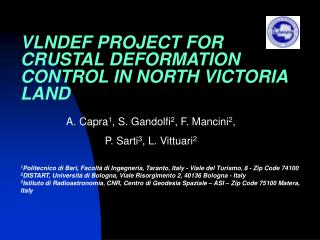 VLNDEF PROJECT FOR CRUSTAL DEFORMATION CONTROL I N NORTH VICTORIA LAND