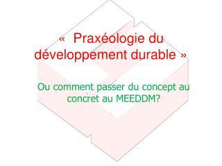 « Praxéologie du développement durable»