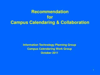 Recommendation  for  Campus Calendaring & Collaboration