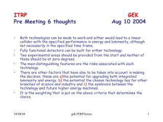 ITRP							GEK Pre Meeting 6 thoughts			Aug 10 2004