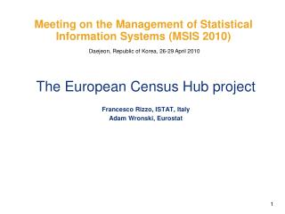 Meeting on the Management of Statistical Information Systems (MSIS 2010)