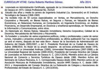 CURRICULUM VITAE: Carlos Roberto Martínez Gómez.                       Año  2014.