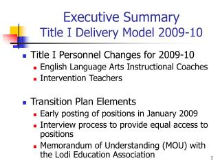 Executive Summary Title I Delivery Model 2009-10