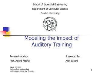 Modeling the impact of Auditory Training