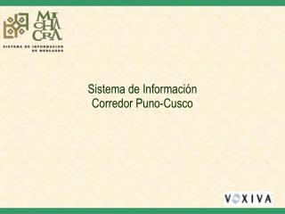 Sistema de Información  Corredor Puno-Cusco