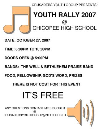 CRUSADERS YOUTH GROUP PRESENTS: YOUTH RALLY 2007 @ CHICOPEE HIGH SCHOOL