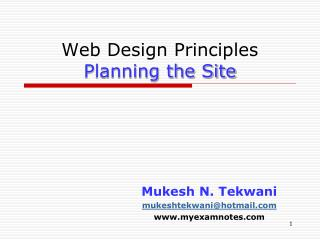 Web Design Principles Planning the Site