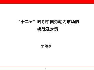"""""""十二五""""时期中国劳动力市场的 挑战及对策"""