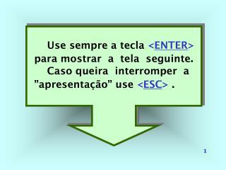 Use sempre a tecla  < ENTER > para mostrar  a  tela  seguinte .