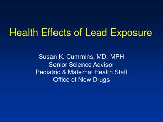 Health Effects of Lead Exposure