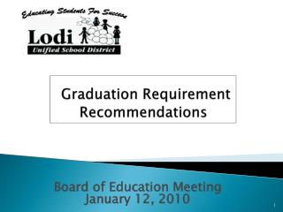 Graduation  Requirement  Recommendations