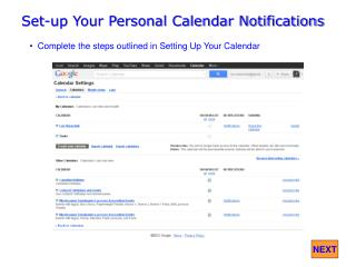 Set-up Your Personal Calendar Notifications