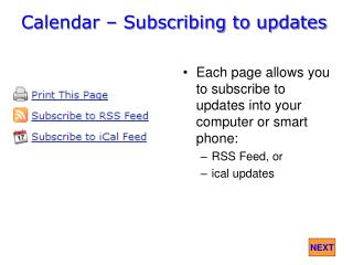 Calendar – Subscribing to updates