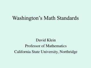 Washington s Math Standards