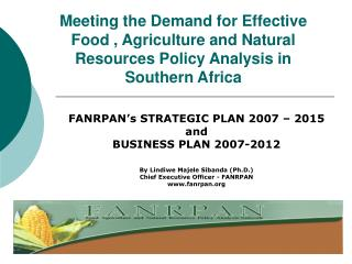 FANRPAN�s STRATEGIC PLAN 2007 � 2015 and  BUSINESS PLAN 2007-2012