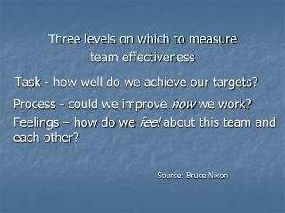 Three levels on which to measure  team effectiveness    Task - how well do we achieve our targets?