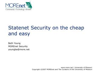 Statenet Security on the cheap and easy