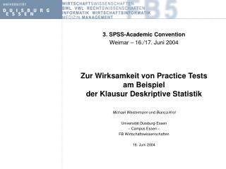 Zur Wirksamkeit von Practice Tests  am Beispiel  der Klausur Deskriptive Statistik