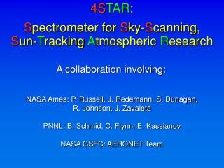 NASA Ames: P. Russell, J. Redemann, S. Dunagan,  R. Johnson, J. Zavaleta  PNNL: B. Schmid, C. Flynn, E. Kassianov  NASA