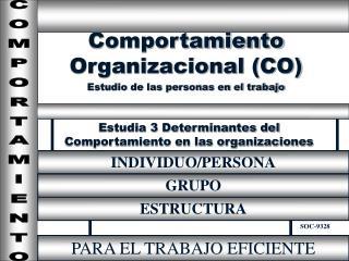 Estudia 3 Determinantes del Comportamiento en las organizaciones