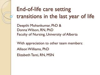 End-of-life care setting transitions in the last year of life