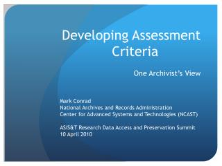 Developing Assessment Criteria