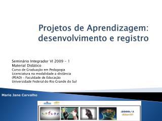 Projetos de Aprendizagem: desenvolvimento e registro