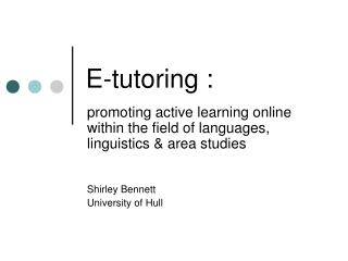 E-tutoring :