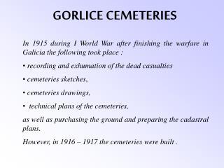 GORLICE CEMETERIES