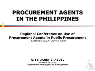 Atty. Janet B.  Abuel Assistant Secretary Department of Budget and Management