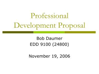 Professional Development Proposal