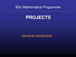 BSc Mathematics Programme