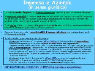 Impresa e Azienda (in senso giuridico)