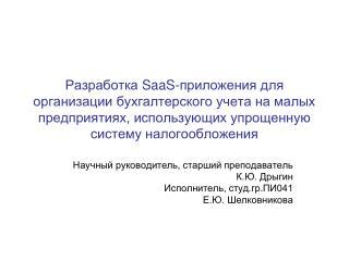 Научный руководитель, старший преподаватель  К.Ю. Дрыгин  Исполнитель, студ.гр.ПИ041