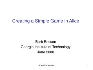 Creating a Simple Game in Alice