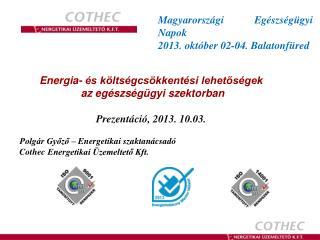 Energia- �s k�lts�gcs�kkent�si lehet?s�gek �az eg�szs�g�gyi szektorban  Prezent�ci�, 2013. 10.03.