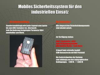 Mobiles Sicherheitssystem für den industriellen Einsatz