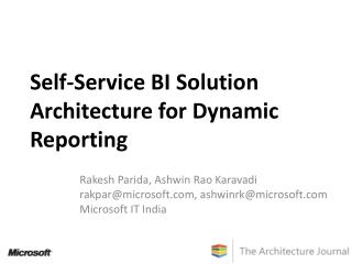 Self-Service BI Solution Architecture for Dynamic Reporting