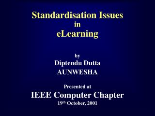 Standardisation Issues in  eLearning