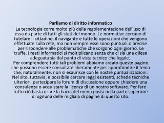 Parliamo di diritto informatico