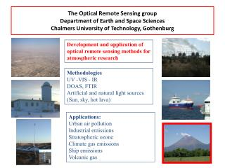 Development and application of optical remote sensing methods for atmospheric research