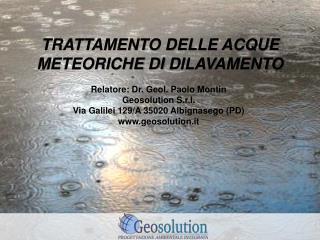 TRATTAMENTO DELLE ACQUE METEORICHE  DI  DILAVAMENTO
