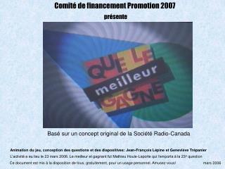 Comité de financement Promotion 2007