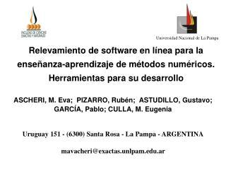 ASCHERI, M. Eva;  PIZARRO, Rub�n;  ASTUDILLO, Gustavo;  GARC�A, Pablo; CULLA, M. Eugenia