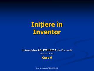 Inițiere în Inventor