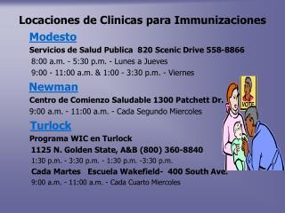 Locaciones de Clinicas para Immunizaciones